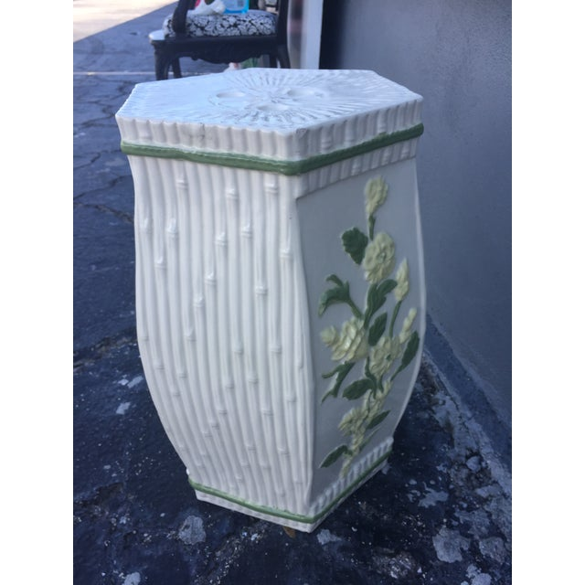 1970s Vintage Hollywood Regency Ceramic Faux Bamboo Garden Stool For Sale In Miami - Image 6 of 11