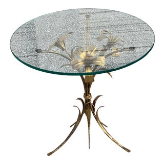 1970s Brass Lily Side Table by Hans Kogl For Sale
