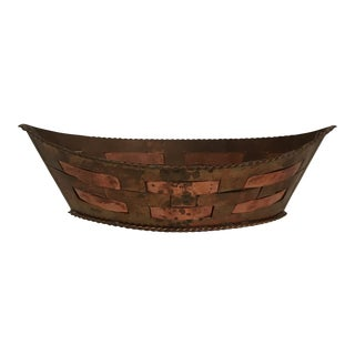 Woven Copper Cachepot For Sale