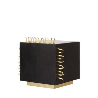 Black Leather Danger Side Table With Gold Spikes, Brass, Living Room, Bedroom, Modern Accent Design For Sale