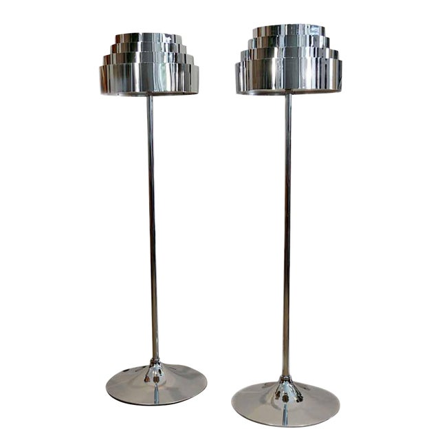 1970s Mid Century Chrome Torchere Floor Lamps - a Pair For Sale
