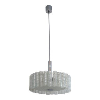 Mid-Century Modern Doria Leuchten Chandelier Murano Glass Tubes and Polished Chrome For Sale