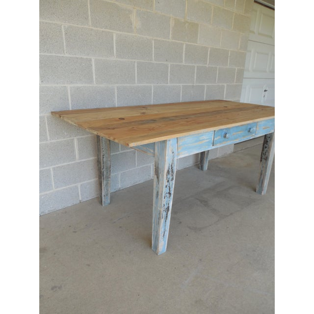 Reclaimed Thin Board Rustic Farm Dining Table - Image 6 of 8