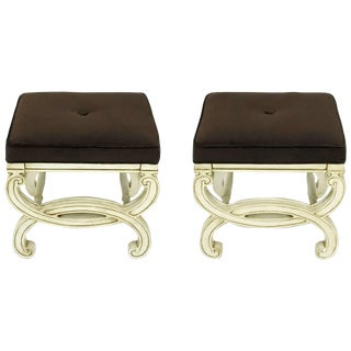 Pair of Regency Style Interlocking Curule Benches in Glazed Ivory & Sable Velvet For Sale