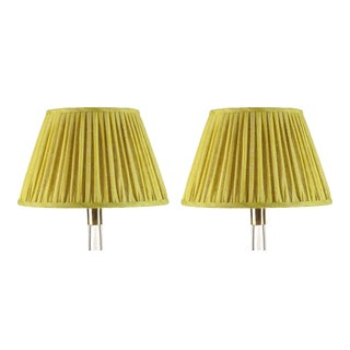 Fermoie Gathered Linen Lampshade in Euphorbia, 6 Inch, Set of 2 For Sale
