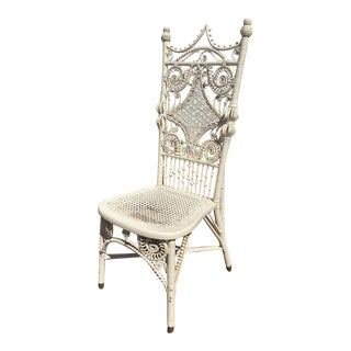 Late 19th Century Antique Victorian Wicker Chair For Sale