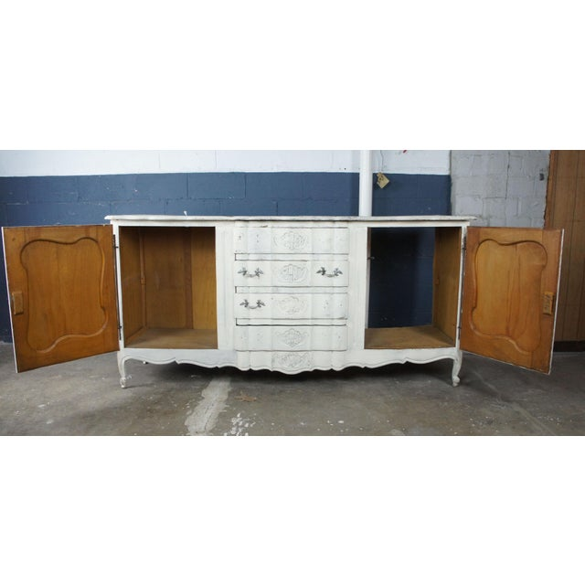 Wood 19th Century Antique French Country Provincial White Sideboard For Sale - Image 7 of 13