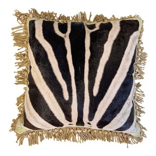 "One of a Kind Zebra Pillow, 20"" For Sale"