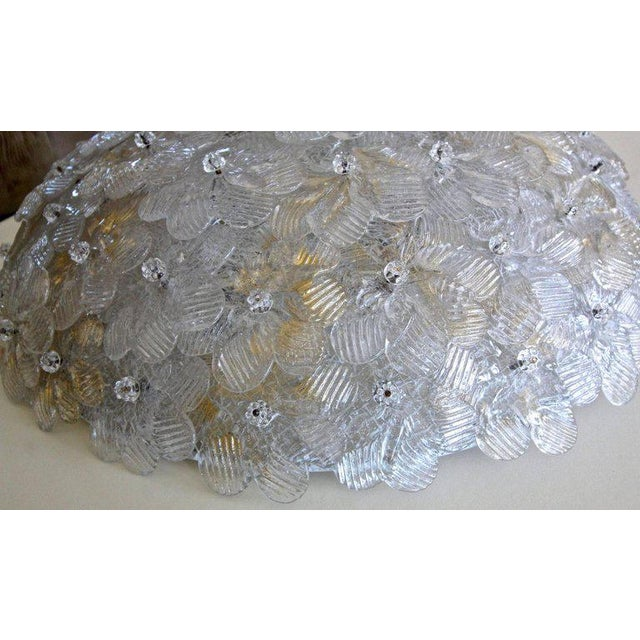 1970s Murano Glass Floral Pendant Flush Mount Lights - A Pair For Sale In Palm Springs - Image 6 of 13