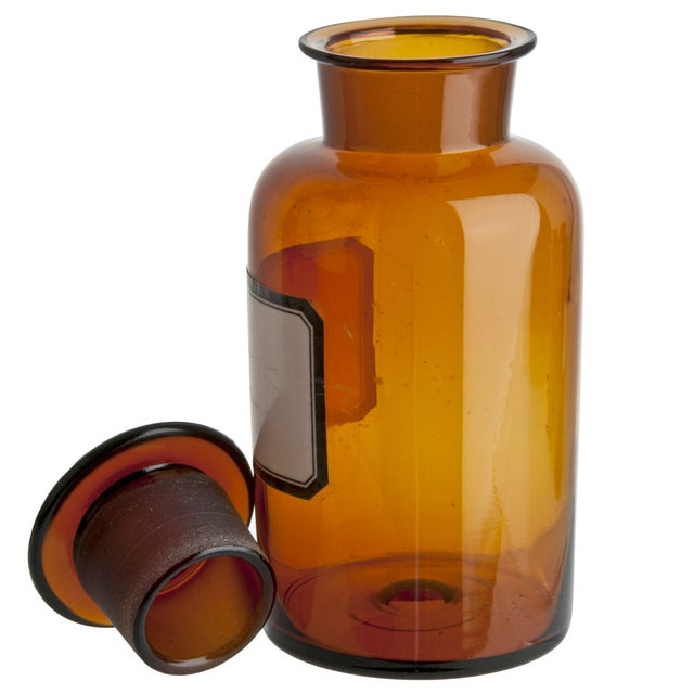Vintage German Amber Glass Apothecary Bottle - Image 2 of 3