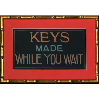 """Keys Made While You Wait"" Pastel & Gouache Original Sign in Gilt Bamboo Frame!~ For Sale"
