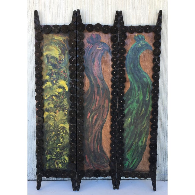 Art Nouveau 20th Century Arts & Crafts Folding Screen & Hand Painted Decoration Room Divider For Sale - Image 3 of 13
