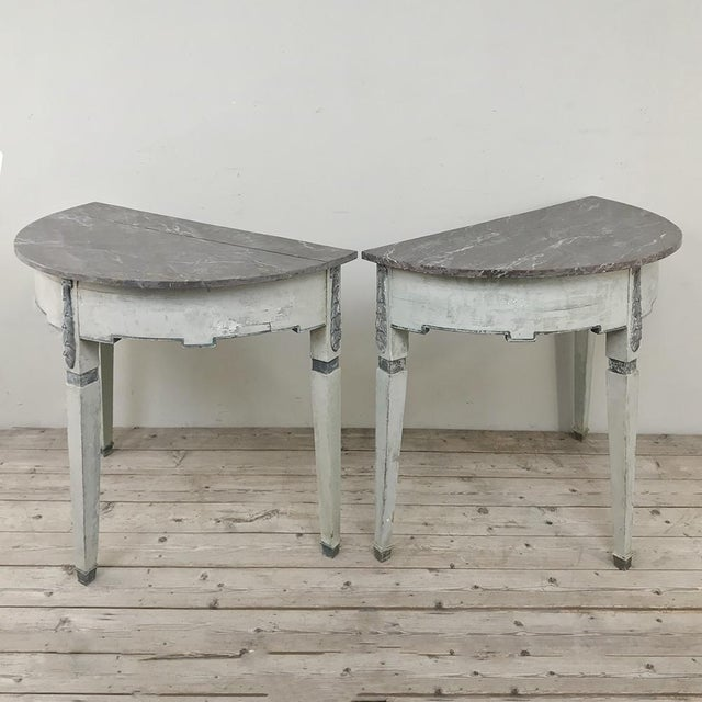 Late 19th Century Pair 19th Century Swedish Painted Demilune Consoles For Sale - Image 5 of 13