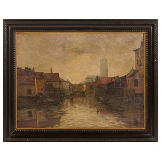 Depiction of City Life Oil on Canvas Painting From Belgium Circa 1890 For Sale