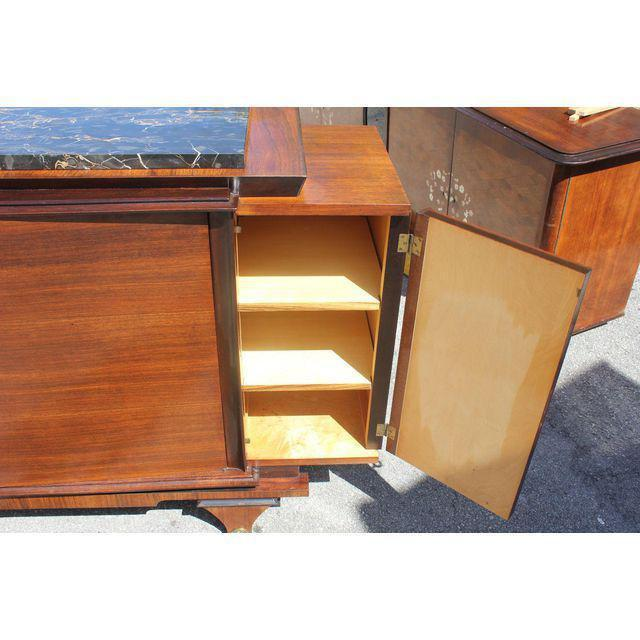 Black 1940s Art Deco Exotic Macassar Ebony Marble Top Sideboard For Sale - Image 8 of 12