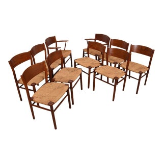 Borge Mogensen Set of 10 (2 Arm + 8 Side) Danish Teak Dining Chairs For Sale