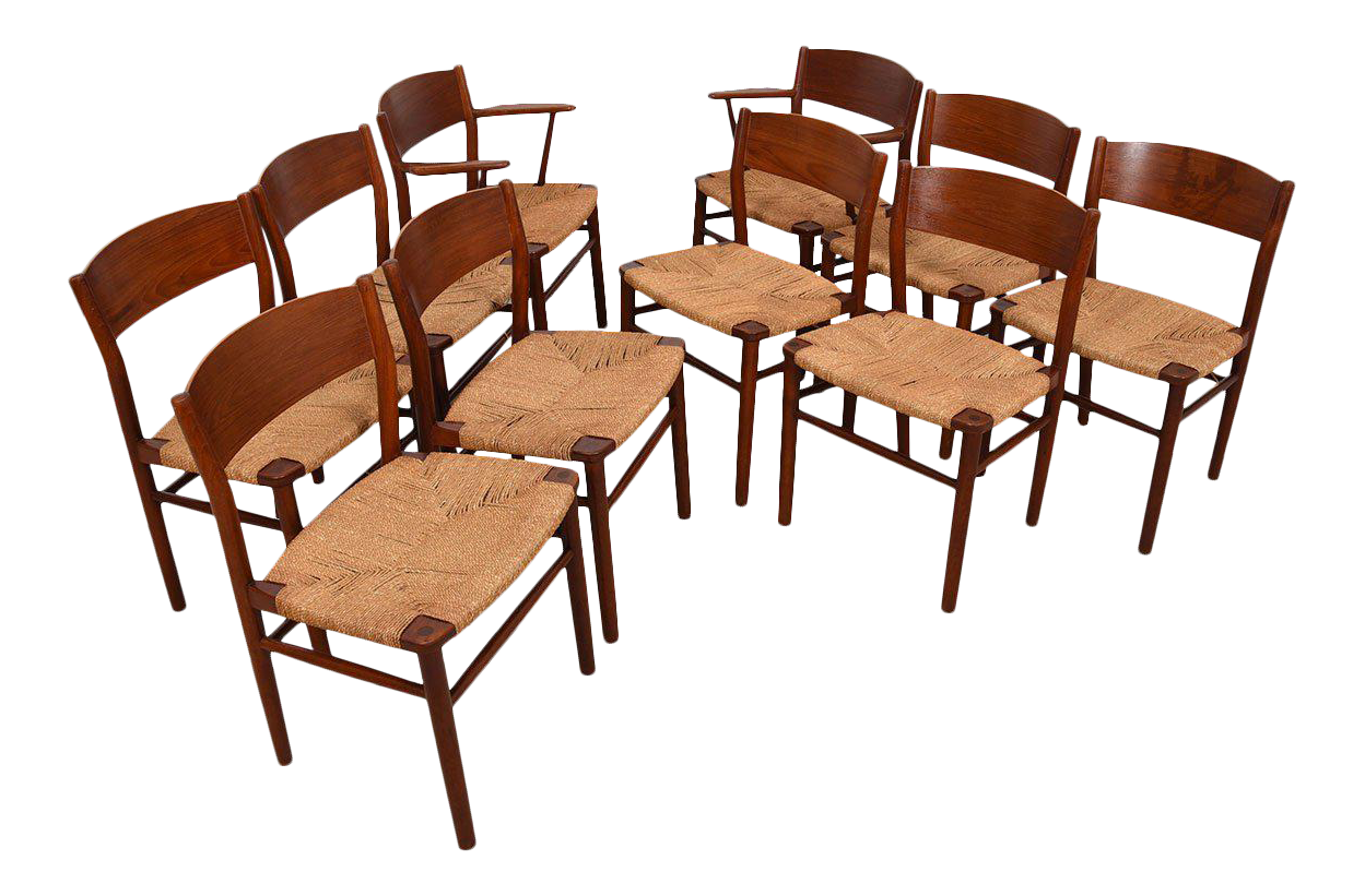 Peter Hvidt Set Of 10 2 Arm 8 Side Danish Teak Dining Chairs Chairish