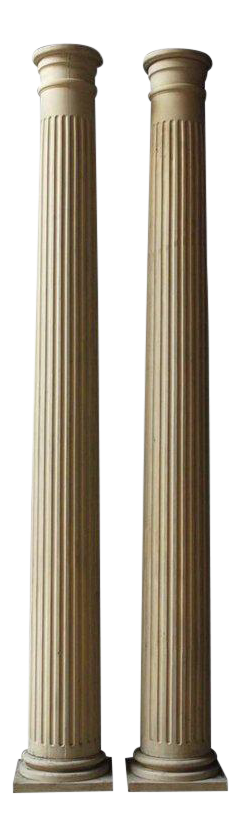 Pair Of Neoclassical Fluted Wood Columns For Sale