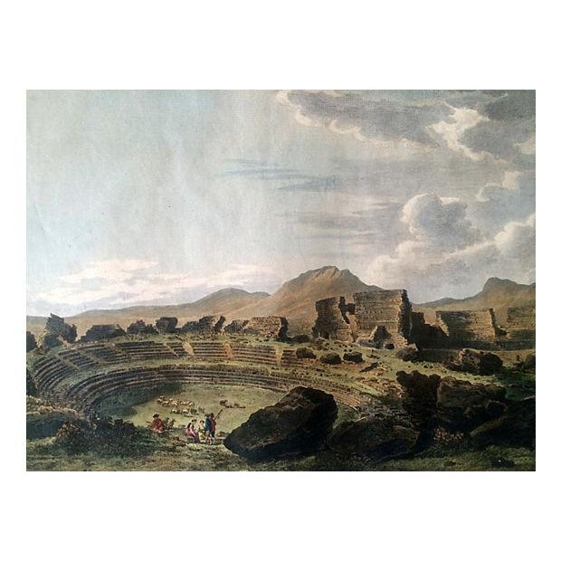 Ancient Spanish Theater Ruins, Antique Color Engraving - Image 2 of 6