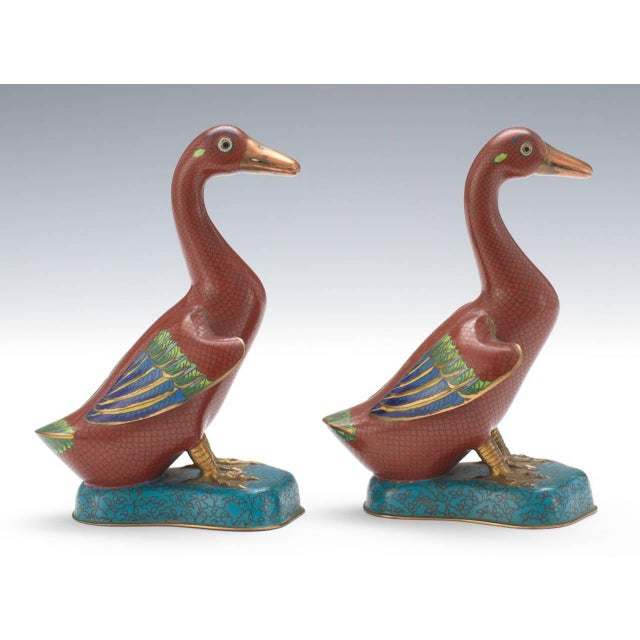 Chinese Cloisonné Ducks - A Pair For Sale - Image 4 of 6