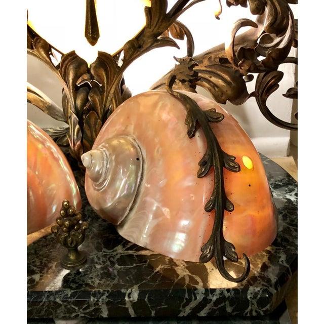 Nautical Rare Antique Bronze Marble & Nautilus Shell Centerpiece Lamp For Sale - Image 3 of 8