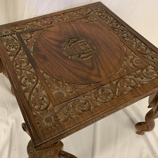 Anglo Indian Rosewood Elephant Accent Table For Sale - Image 4 of 11
