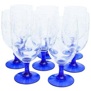 Floral-Pattern Blue Stem Glasses, S/8 For Sale