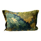 Image of Scenic Flora Green Trees Linen Small Lumbar Pillow For Sale
