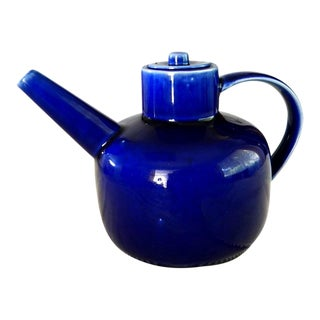Asian Artisan Cobalt Blue Handmade and Hand Painted Porcelain Teapot