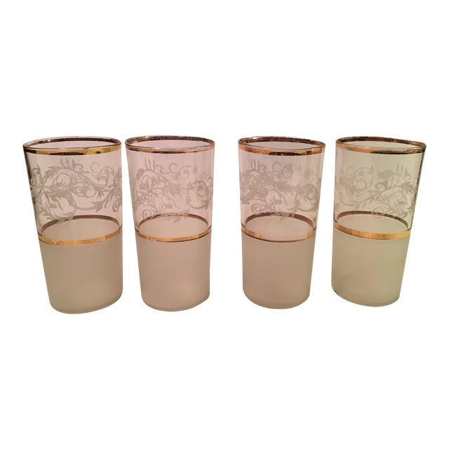 Mid-Century Frosted Highball Glasses - Set of 4 For Sale