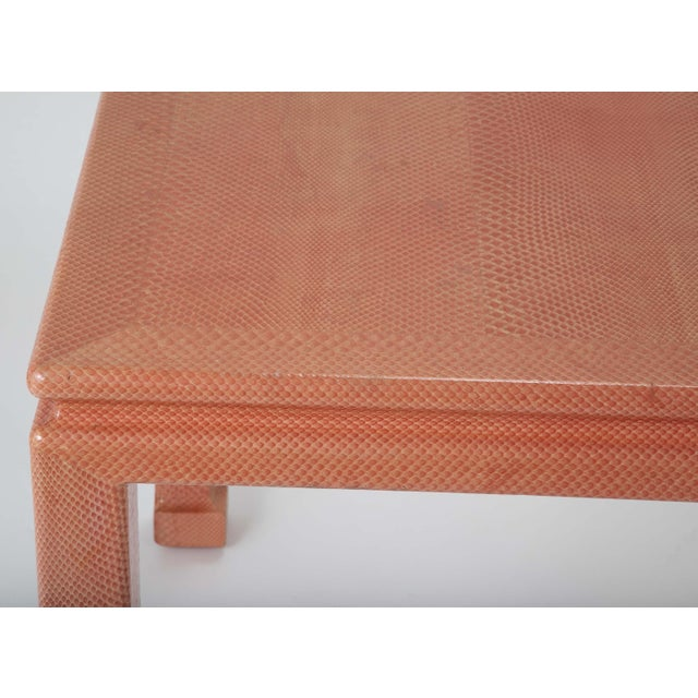Leather Coral Colored Snake Skin Games Table by Karl Springer For Sale - Image 7 of 12