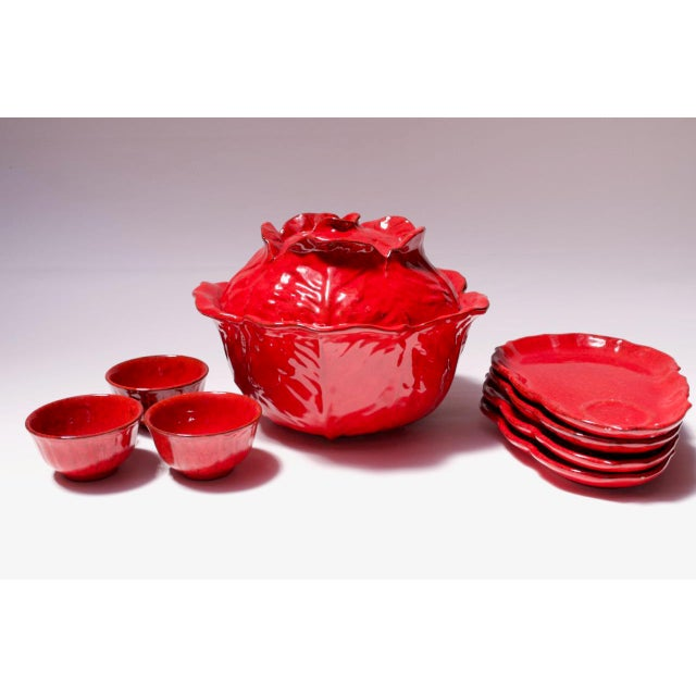 Vintage Italian Pv Peasant Village Red Ceramic Punch Bowl Set For Sale - Image 13 of 13