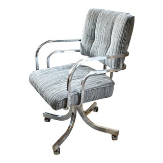 Mid Century Style Upholstered Chrome Swivel Arm Chair For Sale
