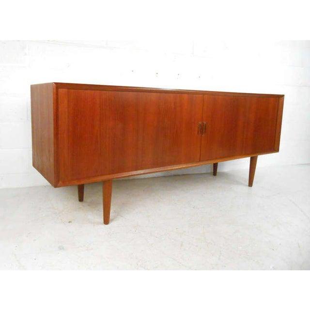 Art Deco Sven Aage Larsen Mid-Century Teak Tambour Front Server For Sale - Image 3 of 9