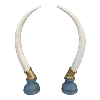 Brass Hollywood Regency Faux Elephant Tusks - a Pair For Sale