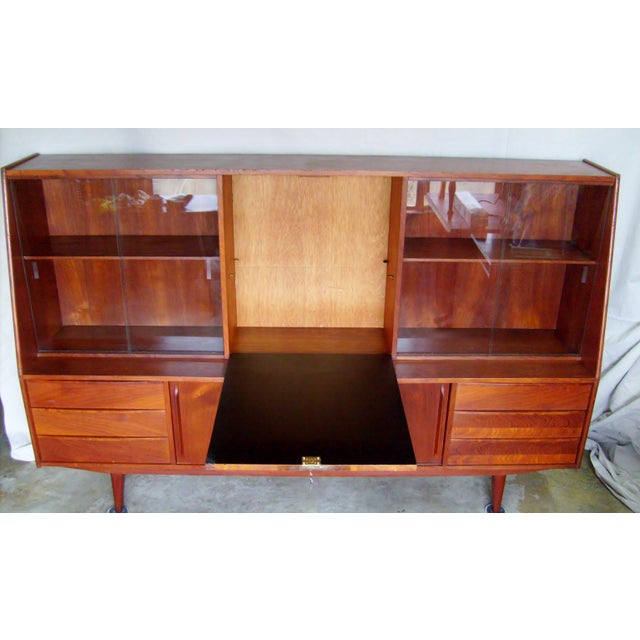1950s 7 Ft. Mid-Century Danish Modern Teak Credenza Dry Bar Hutch For Sale - Image 5 of 12