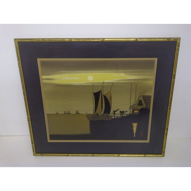 Title: Sailboats at Dusk Date: Circa 1940 This original print is framed with a glass front. The print is in very good...