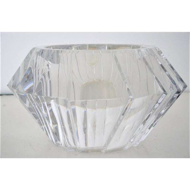 Mid-Century Swedish Modern Orrefors Crystal Faceted Bowl For Sale - Image 12 of 12