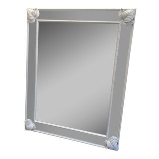 Vintage White Bamboo Mirror For Sale