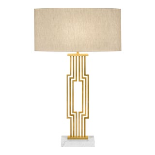 Art Deco Provence Brushed Brass Table Lamp With Shade For Sale