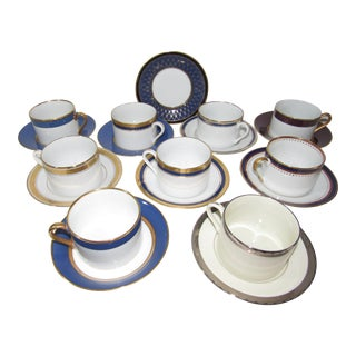 Assorted Fitz & Floyd Tea Coffee Cups and Saucers 9 Cups + 10 Saucers For Sale