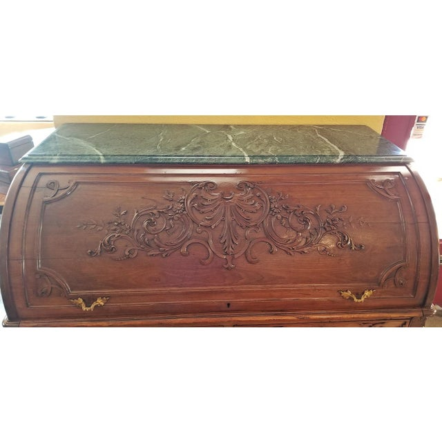19c Hampton & Sons Chinese Chippendale Cylinder Desk For Sale - Image 10 of 12