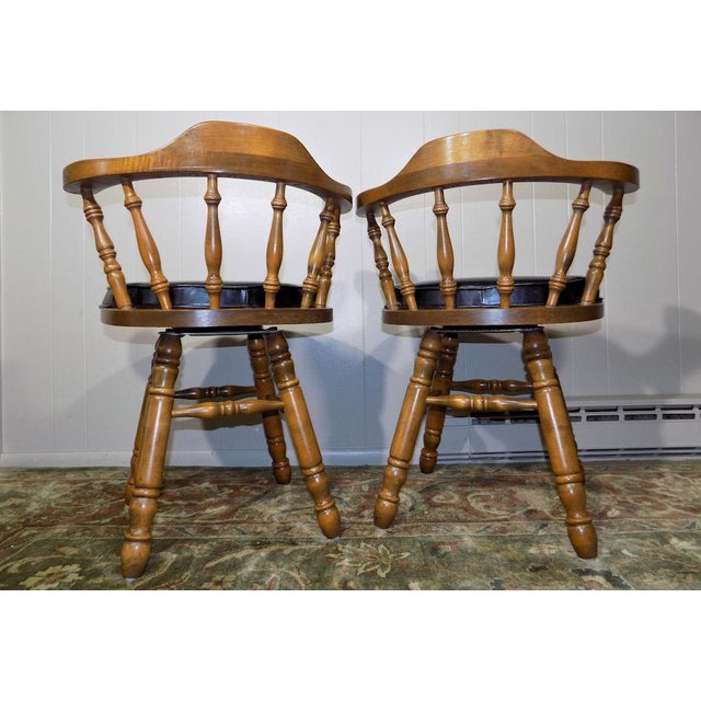 Set of 4 George B. Bent Solid Maple Windsor Swivel Chairs For Sale - Image 10 of 13
