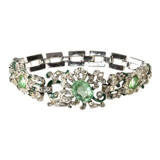 Trifari Empress Eugenie Pastel Green and Clear Rhinestone Bracelet For Sale