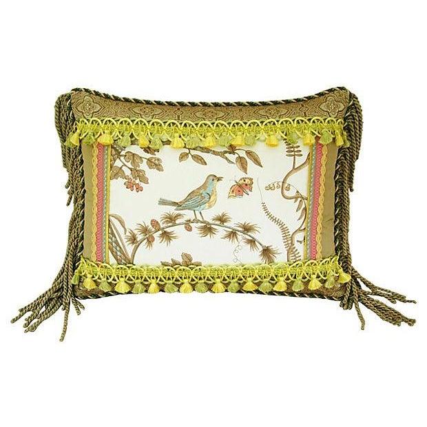 Custom Brunschwig & Fils Bird & Thistle Pillow - Image 1 of 5