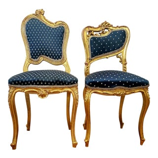Antique Victorian French Giltwood Carved Blue Chairs - a Pair