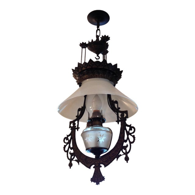 Victorian Cast Iron Pendant Light For Sale