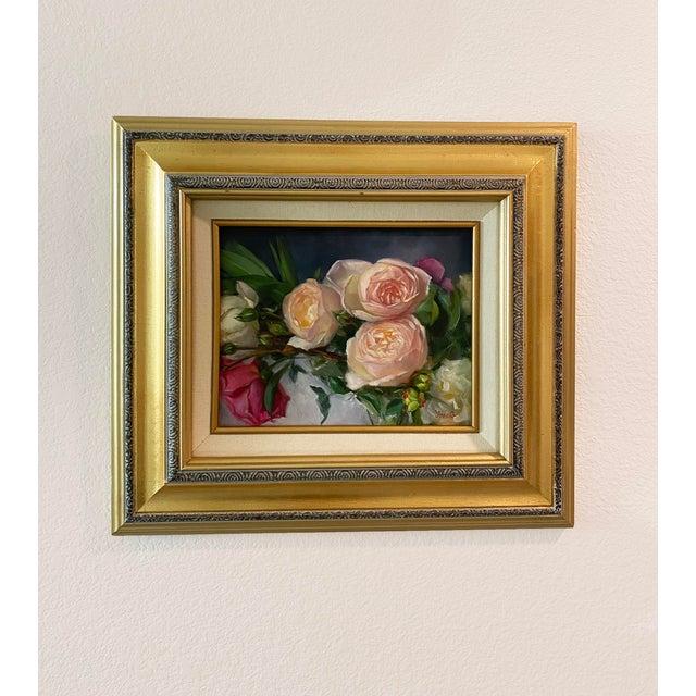 Oil Painting of Garden Roses - Framed For Sale - Image 4 of 10