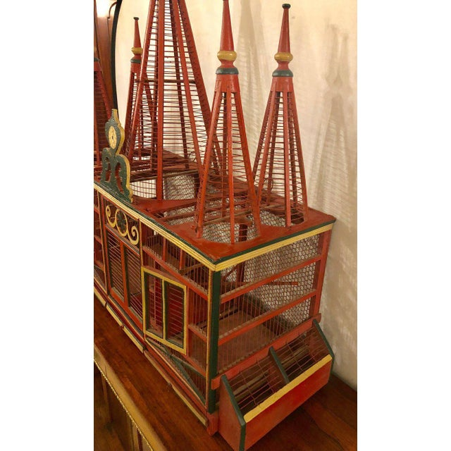 Green Americana Folk Art Circus Tent Style Original Painted Bird Cage For Sale - Image 8 of 13
