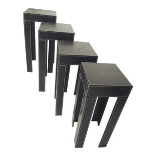 Set of Black Leather Nesting Tables For Sale